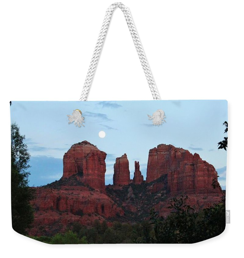 Cathedral Rock Weekender Tote Bag featuring the photograph Cathedral Rock Moon 081913 A2 by Edward Dobosh