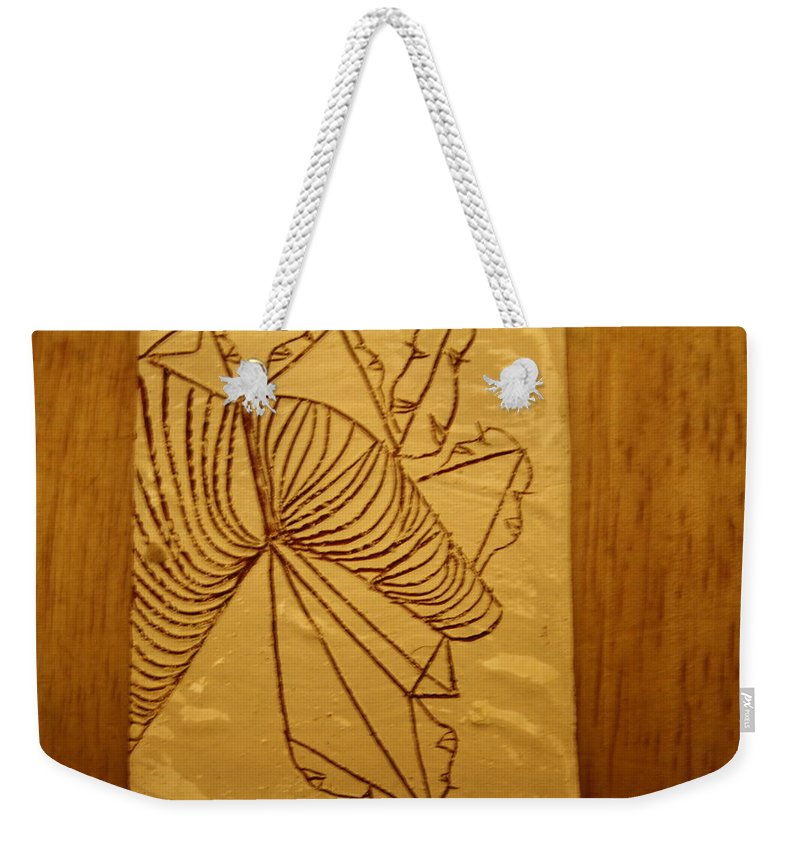 Jesus Weekender Tote Bag featuring the ceramic art Changes - Tile by Gloria Ssali