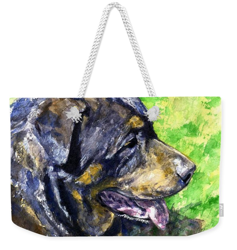 Rottweiler Weekender Tote Bag featuring the painting Chaos by John D Benson