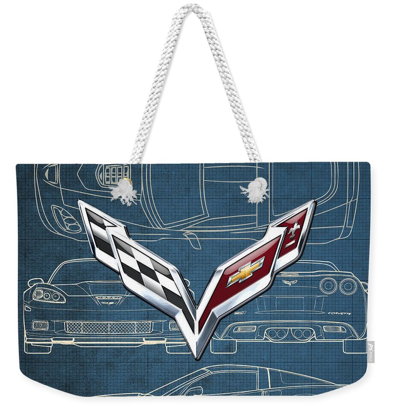�wheels Of Fortune� By Serge Averbukh Weekender Tote Bag featuring the photograph Chevrolet Corvette 3 D Badge Over Corvette C 6 Z R 1 Blueprint by Serge Averbukh