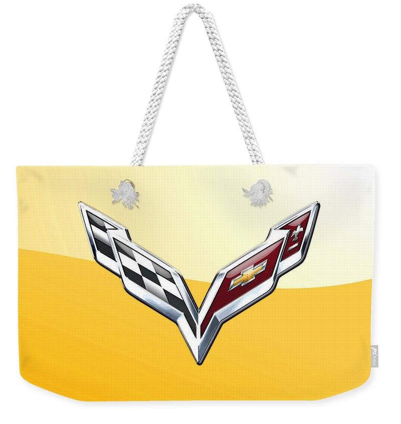 �wheels Of Fortune� Collection By Serge Averbukh Weekender Tote Bag featuring the photograph Chevrolet Corvette 3D Badge on Yellow by Serge Averbukh