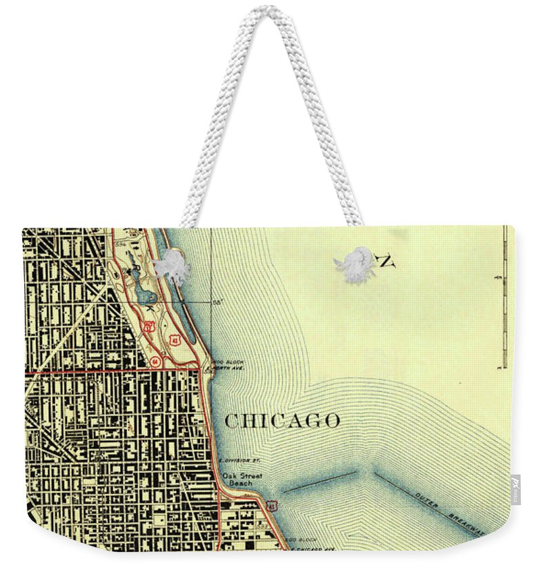 Chicago Old Map Weekender Tote Bag featuring the drawing Chicago Old Map by Drawspots Illustrations