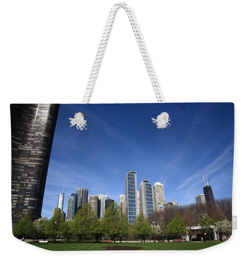 America Weekender Tote Bag featuring the photograph Chicago Skyline by Frank Romeo