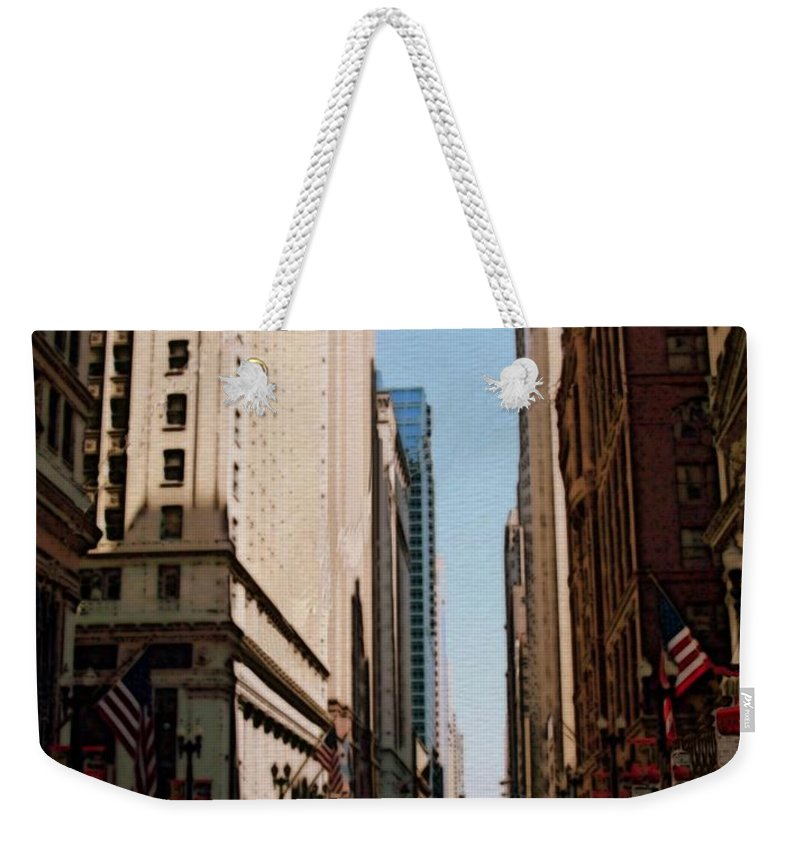 Chicago Weekender Tote Bag featuring the digital art Chicago Street With Flags by Anita Burgermeister