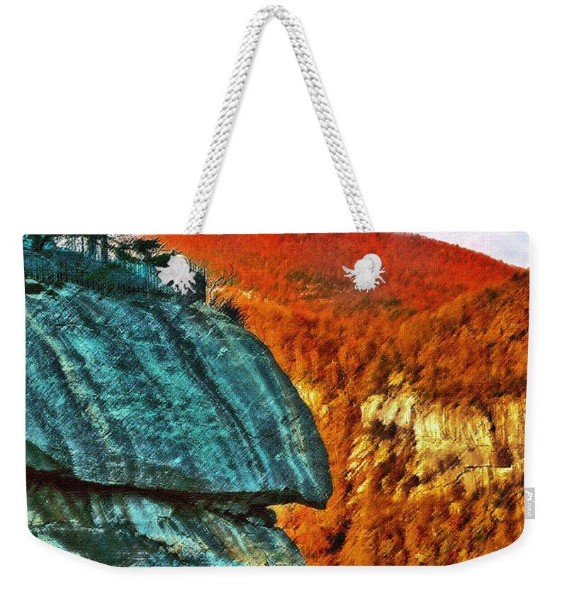 Landscape Weekender Tote Bag featuring the painting Chimney Rock by Steve Karol