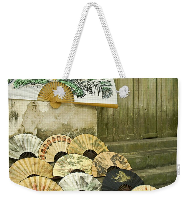Asia Weekender Tote Bag featuring the photograph Chinese Fans by Michele Burgess