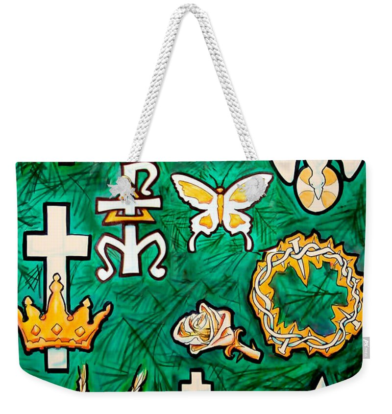 Chrismons Weekender Tote Bag featuring the painting Chrismons by Kevin Middleton