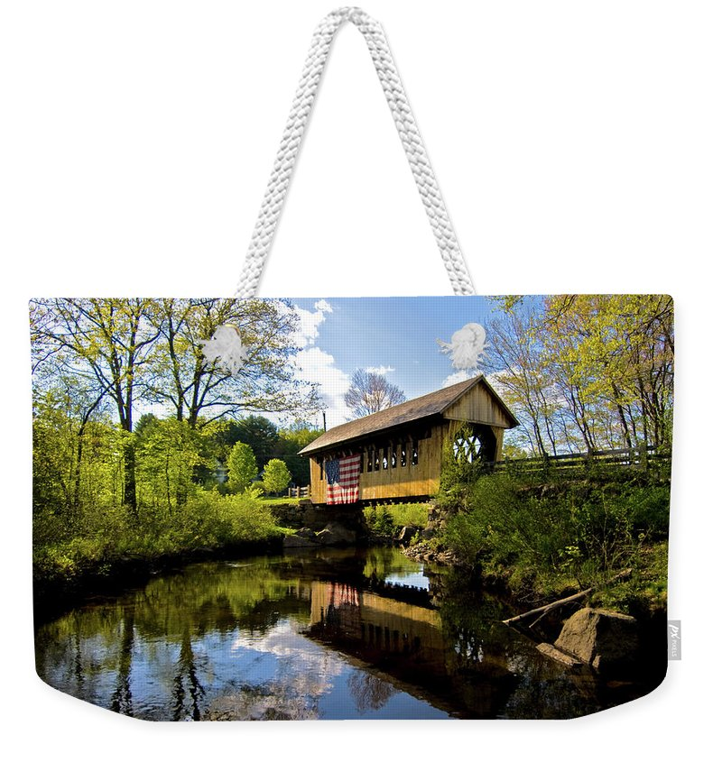 new England Covered Bridges Weekender Tote Bag featuring the photograph Cilleyville Bridge by Paul Mangold