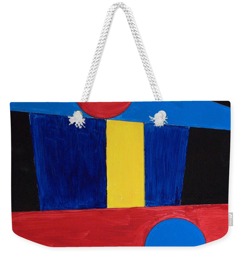 Abstract Weekender Tote Bag featuring the painting Circles Lines Color #5 by J R Seymour