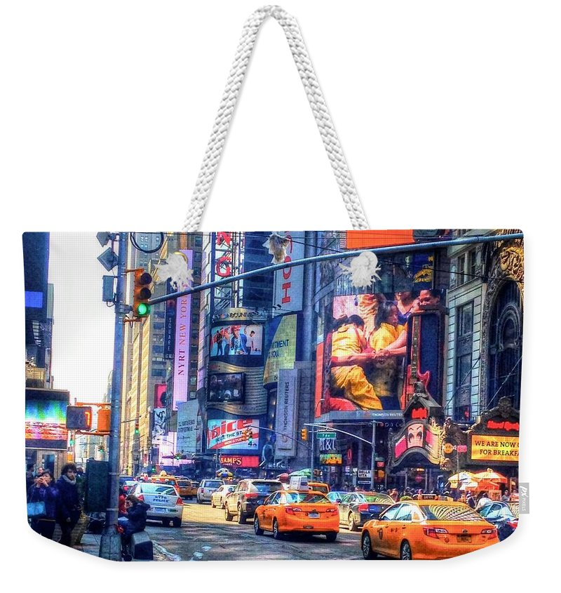 New York Weekender Tote Bag featuring the photograph City Life by Debbi Granruth