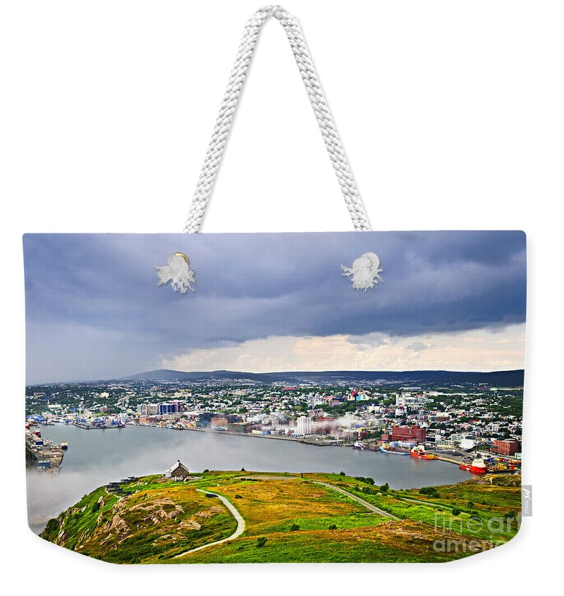 Signal Hill Weekender Tote Bag featuring the photograph Cityscape Of Saint John's From Signal Hill by Elena Elisseeva