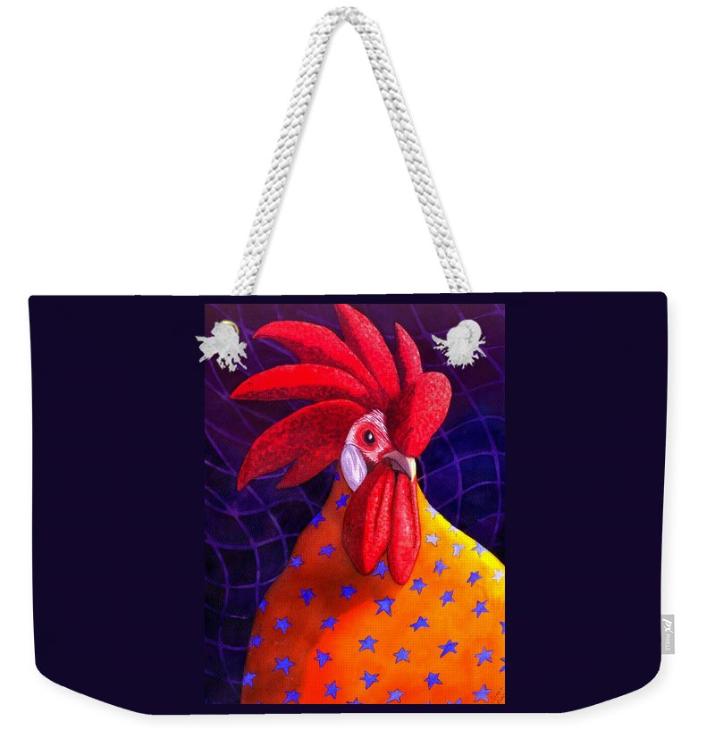 Rooster Weekender Tote Bag featuring the painting Cock A Doodle Dude by Catherine G McElroy