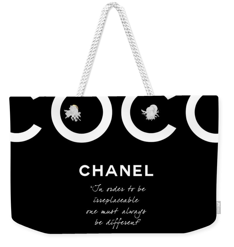 Chanel Weekender Tote Bag featuring the digital art Coco Chanel Irreplaceable Quote by Tres Chic