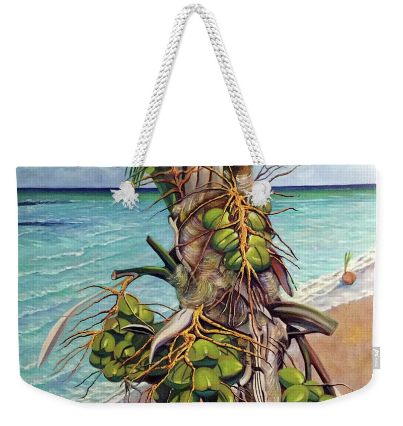 Coconuts Weekender Tote Bag featuring the painting Coconuts On Beach by Jose Manuel Abraham