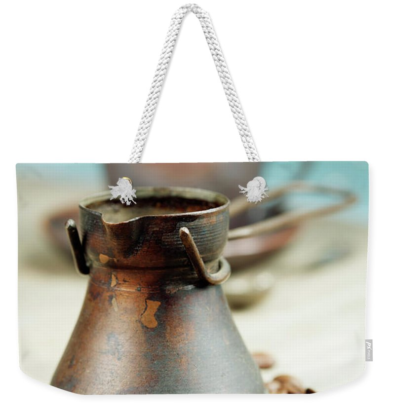 Blue Weekender Tote Bag featuring the photograph Coffee Composition by Natalia Klenova