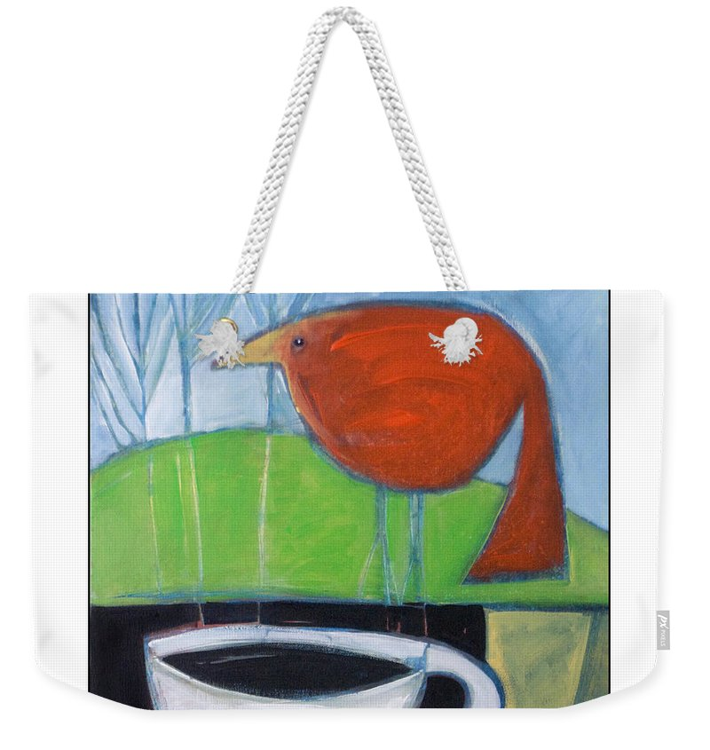 Bird Weekender Tote Bag featuring the painting Coffee With Red Bird by Tim Nyberg