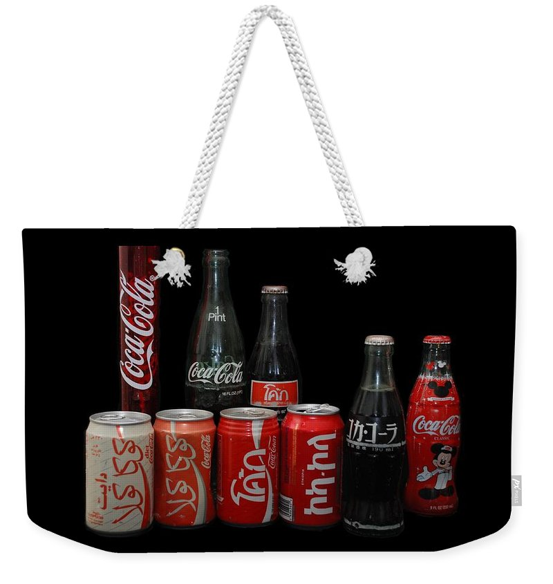 Coca Cola Weekender Tote Bag featuring the photograph Coke From Around The World by Rob Hans