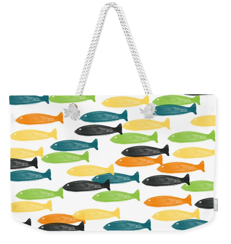 Fish Weekender Tote Bag featuring the painting Colorful Fish by Linda Woods
