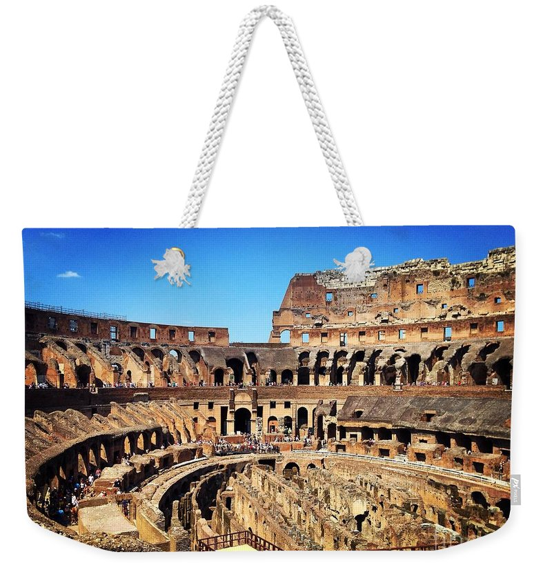 Rome Weekender Tote Bag featuring the photograph Colosseum Interior by Angela Rath