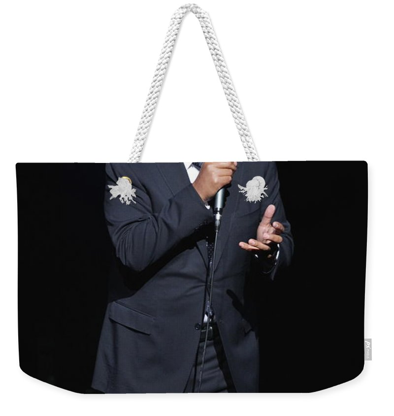Comedian Weekender Tote Bag featuring the photograph Comedian George Lopez by Concert Photos