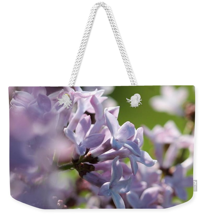 Common Purple Lilac Weekender Tote Bag featuring the photograph Common Purple Lilac by J McCombie