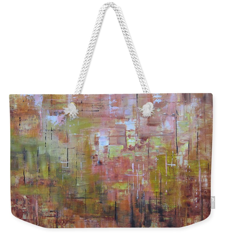 Squares Weekender Tote Bag featuring the painting Communicate by Roberta Rotunda