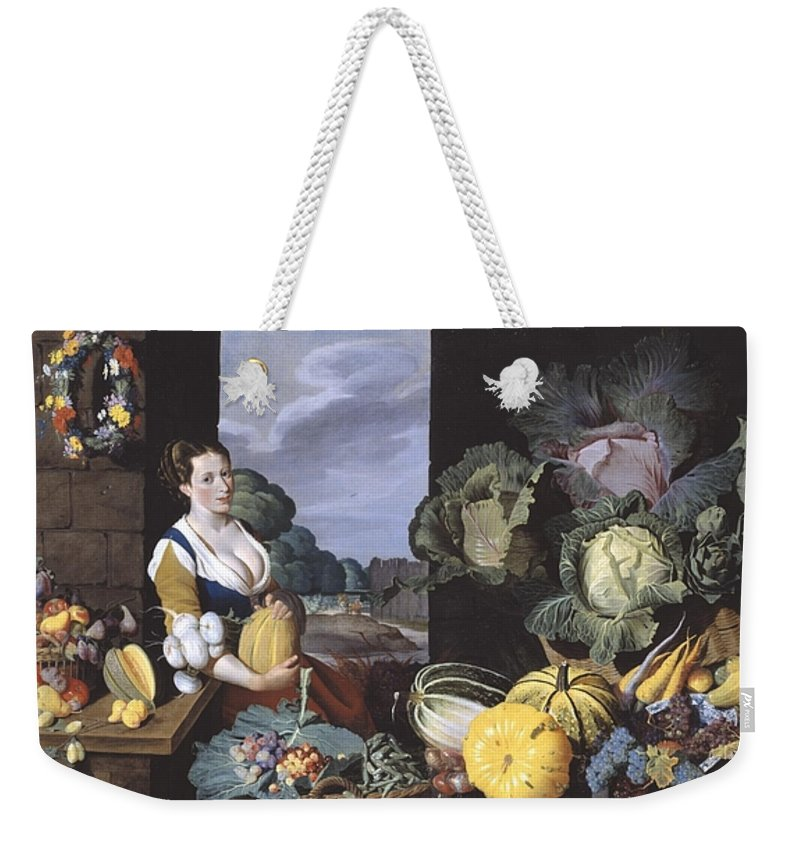 Sir Nathaniel Bacon 1585–1627  Cookmaid With Still Life Of Vegetables And Fruit Weekender Tote Bag featuring the painting Cookmaid With Still Life Of Vegetables And Fruit by MotionAge Designs