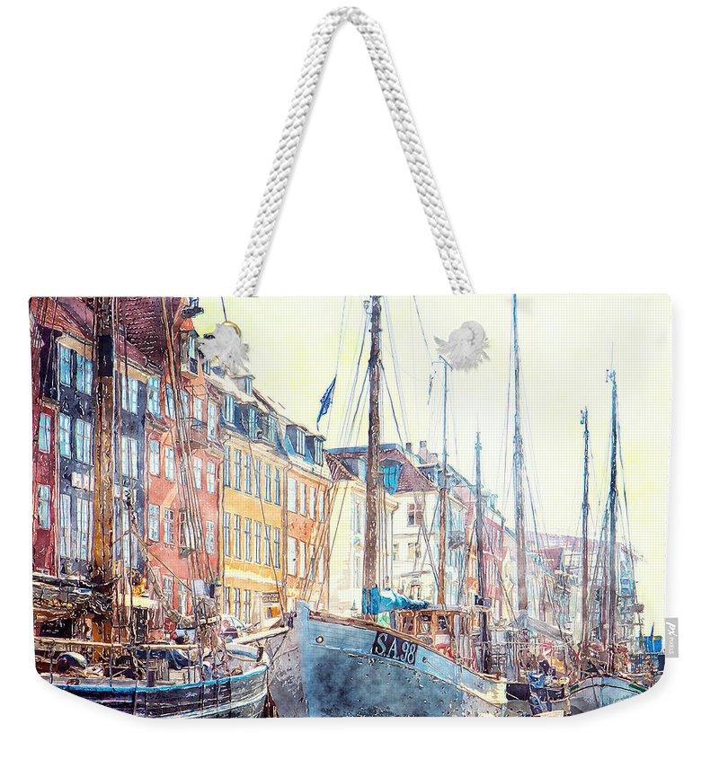 Digital Art Watercolor Weekender Tote Bag featuring the digital art Copenhagen, Nyhavn Harbor by Luisa Vallon Fumi