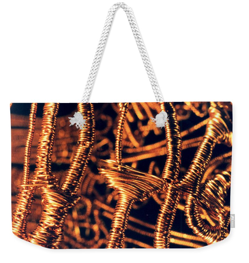 Copper Wirework Weekender Tote Bag featuring the photograph Copper Wirework by Catt Kyriacou