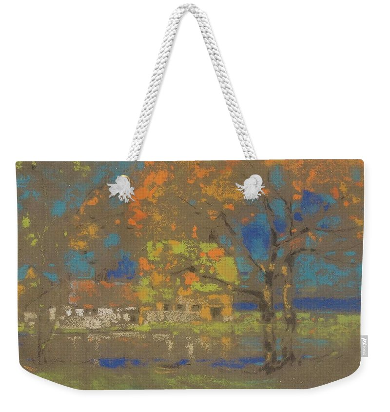 James Watterston Herald (british 1859-1914) Cottage Amongst The Trees Weekender Tote Bag featuring the painting Cottage Amongst The Trees by James Watterston