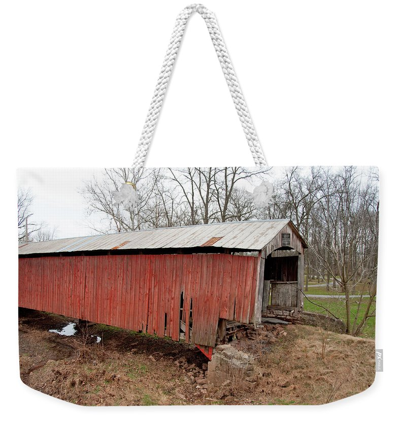 Bridge Weekender Tote Bag featuring the photograph Covered Bridge by David Arment