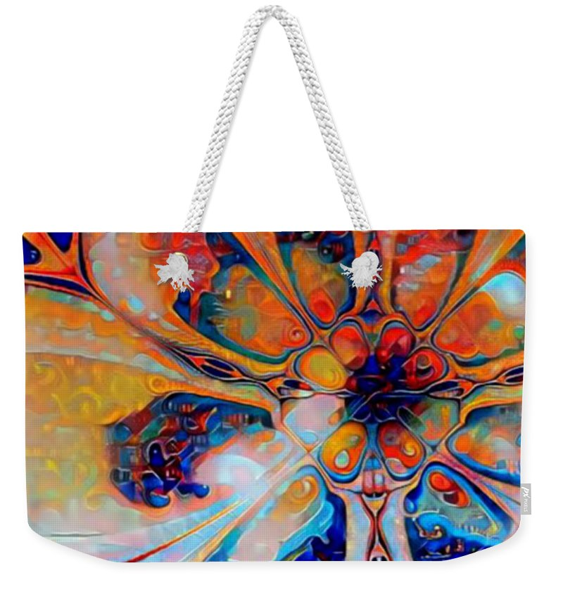 Digital Weekender Tote Bag featuring the digital art Crazy Daisy by Amanda Moore