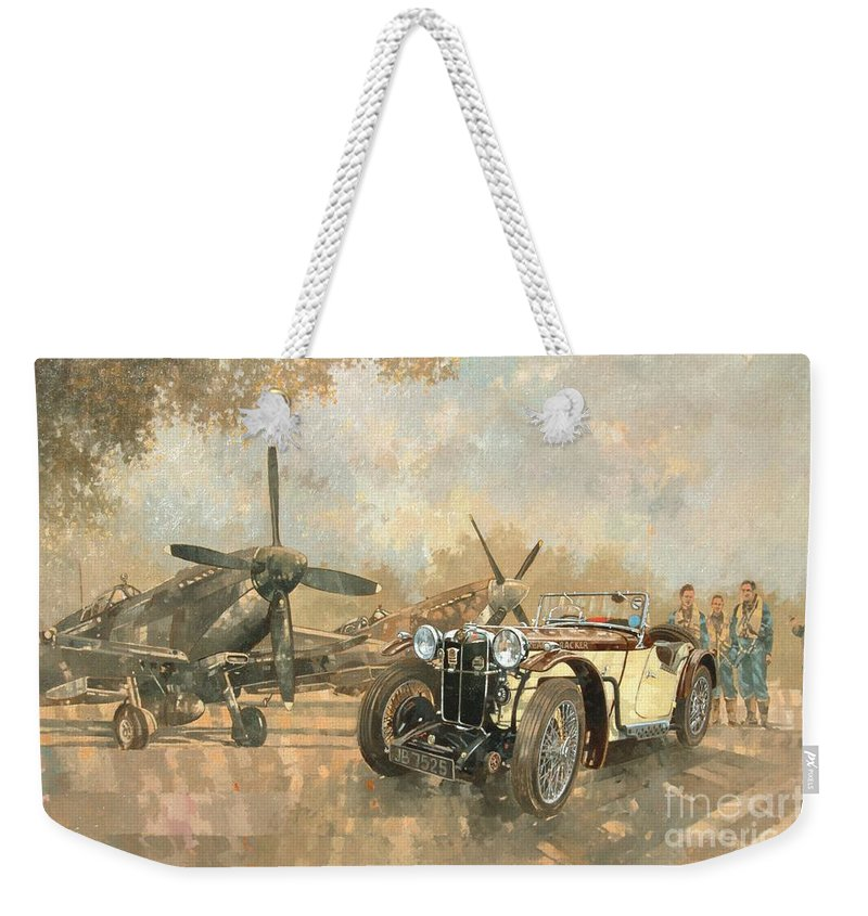 Vehicle; Airplane; Aeroplane; Plane; Military; Airforce; Vintage Car; Planes; Aeroplanes; Airplanes; Classic Cars; Auto; Spitfire Weekender Tote Bag featuring the painting Cream Cracker Mg 4 Spitfires by Peter Miller