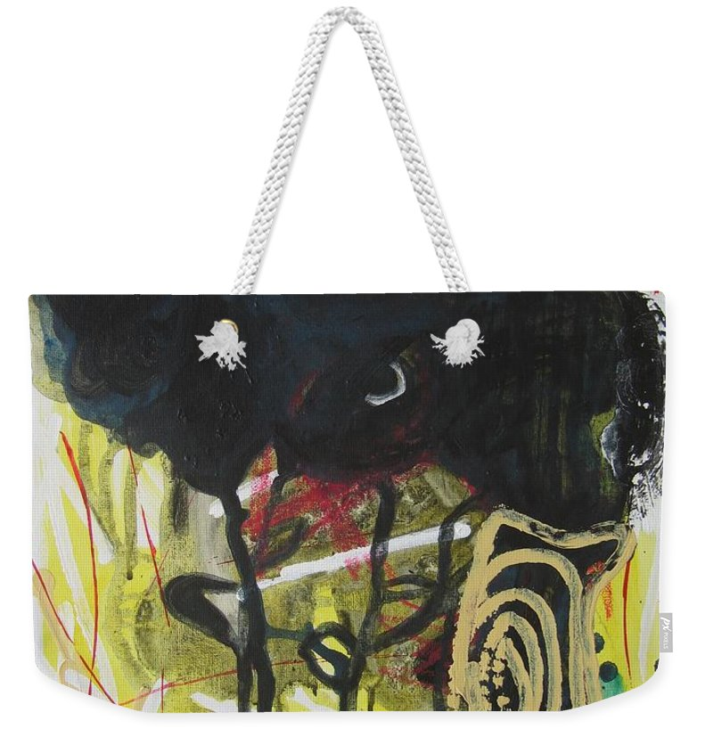 Abstract Paintings Weekender Tote Bag featuring the painting Crescent2 by Seon-Jeong Kim