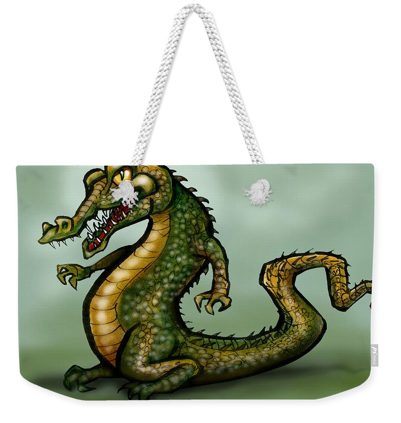 Crocodile Weekender Tote Bag featuring the digital art Crocodile by Kevin Middleton
