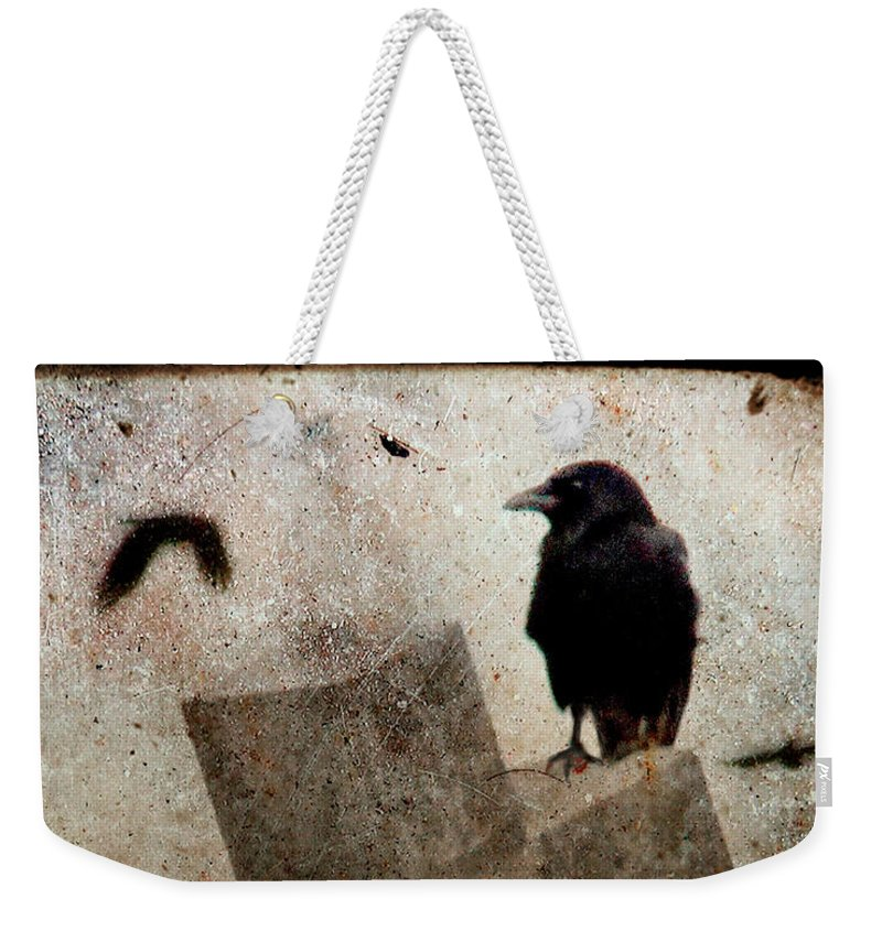 Crow Weekender Tote Bag featuring the photograph Cross With Crow by Gothicrow Images