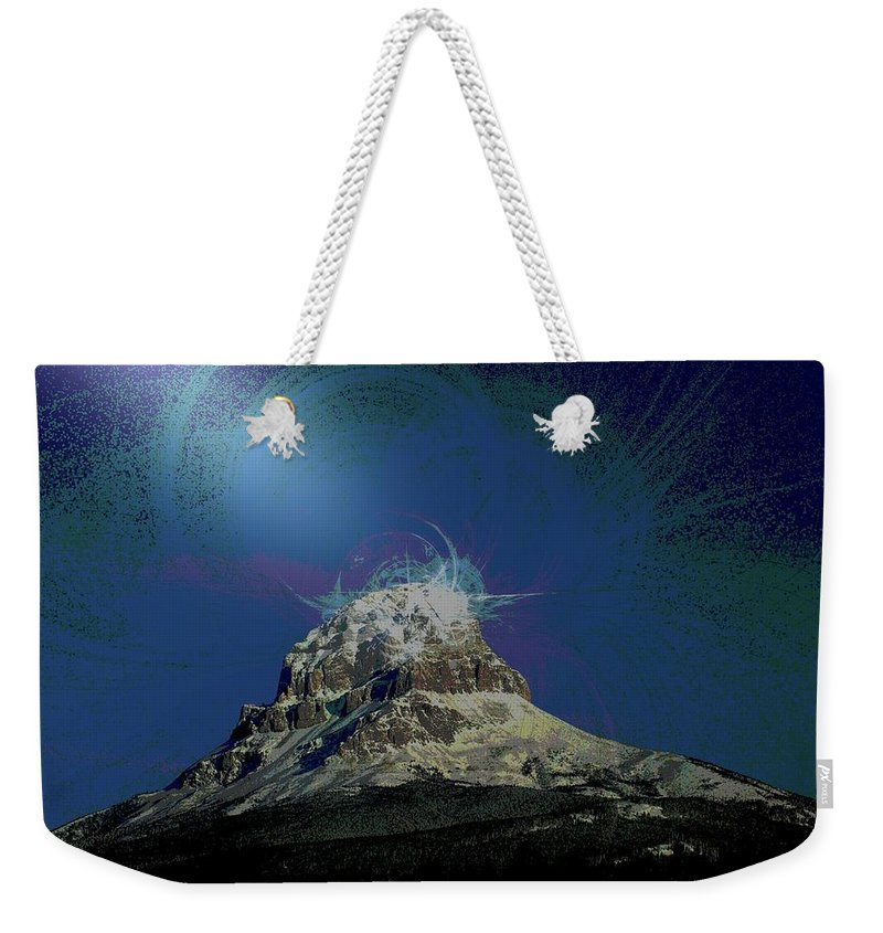 Abstract Weekender Tote Bag featuring the photograph Crowsnest Mountain by Jeff Swan