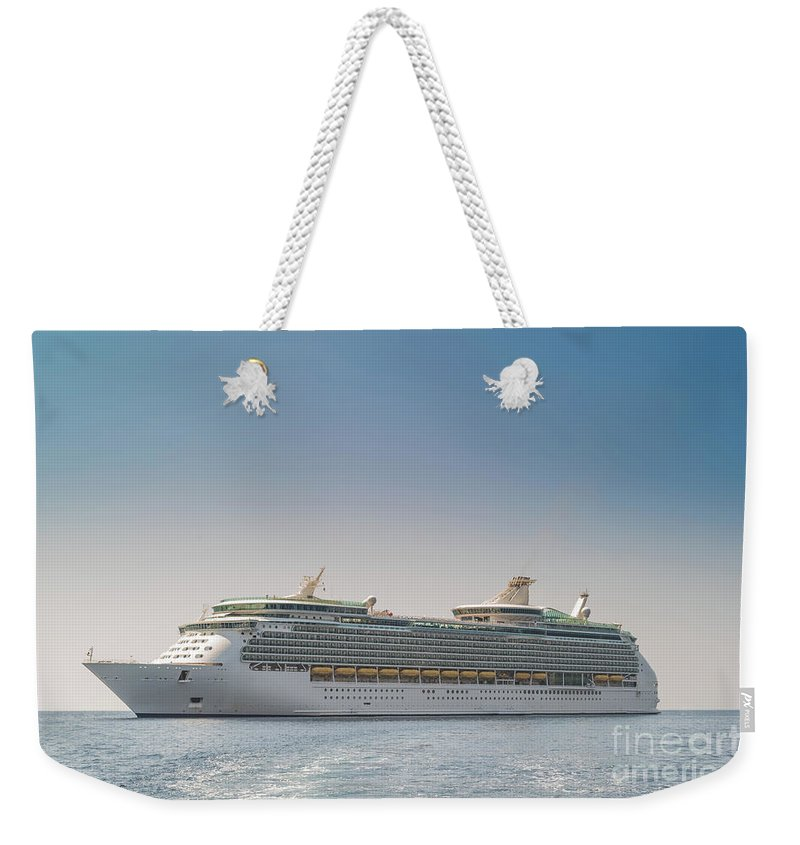 Anchored Weekender Tote Bag featuring the photograph Cruise Ship by Shaun Wilkinson