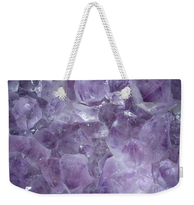 Amethyst Weekender Tote Bag featuring the photograph Crystal Cave by Maria Bonnier-Perez