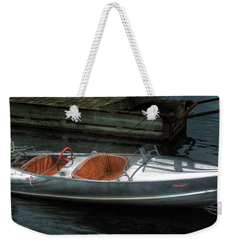 Aluminum Weekender Tote Bag featuring the photograph Cute Boat - 1948 Feather Craft by John Herzog