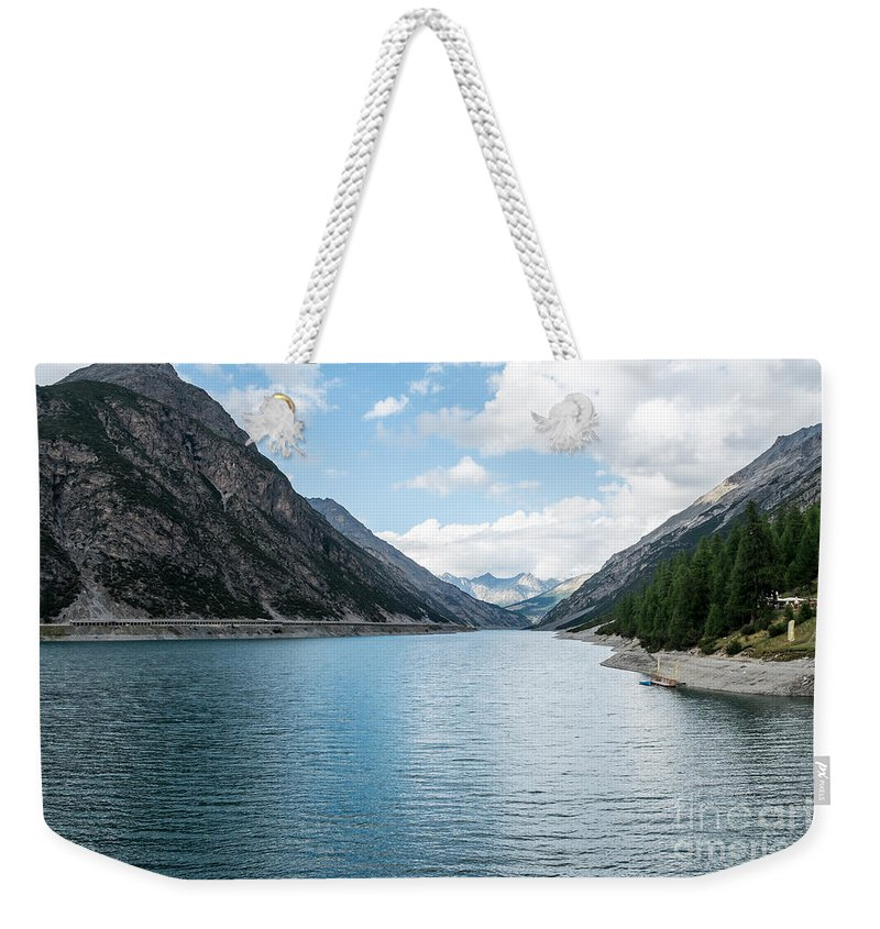 Italy Weekender Tote Bag featuring the photograph Dammed Lake by Gady Cojocaru
