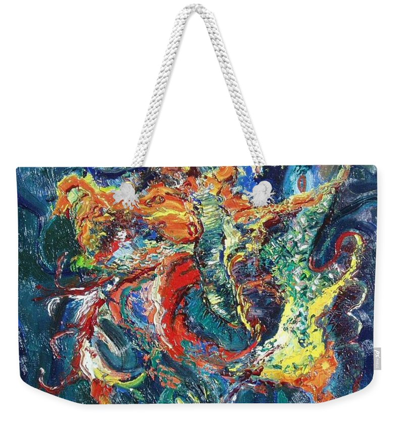 Butterfly Paintings Weekender Tote Bag featuring the painting Dancing Butterflies by Seon-Jeong Kim
