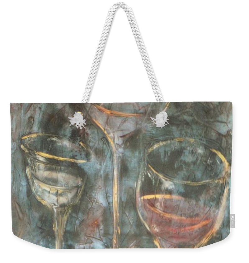 Abstracticle Still Life Weekender Tote Bag featuring the painting Dancing Glasses by Chuck Gebhardt