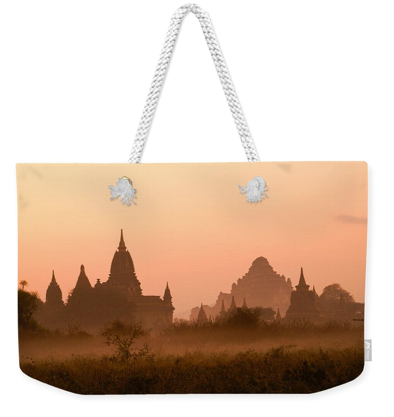Sunrise Weekender Tote Bag featuring the photograph Dawn In Burma by Michele Burgess
