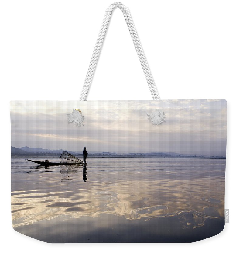 Sunrise Weekender Tote Bag featuring the photograph Dawn On Inle Lake by Michele Burgess