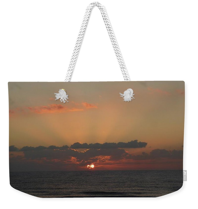 Sunrise Weekender Tote Bag featuring the painting Day Dawns by Rayne Van Sing