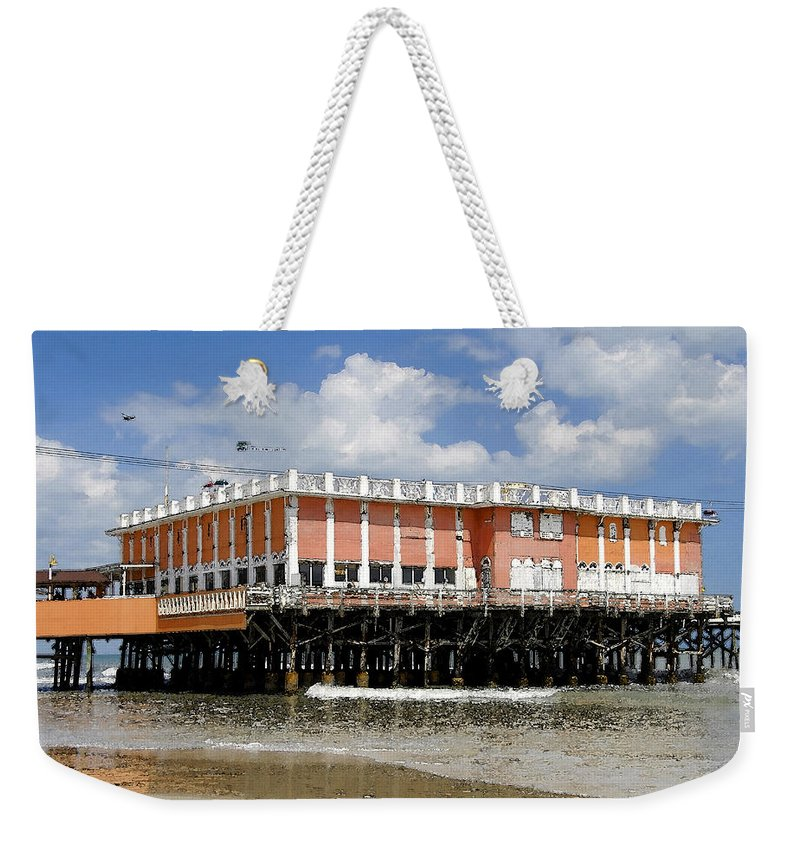 Daytona Beach Florida Weekender Tote Bag featuring the painting Daytona Beach Pier by David Lee Thompson