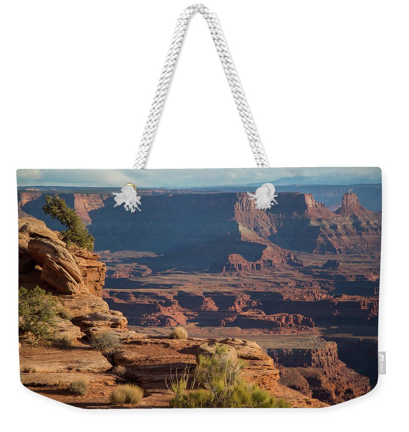 Landscape Weekender Tote Bag featuring the photograph Dead Horse Point by Amber Bird
