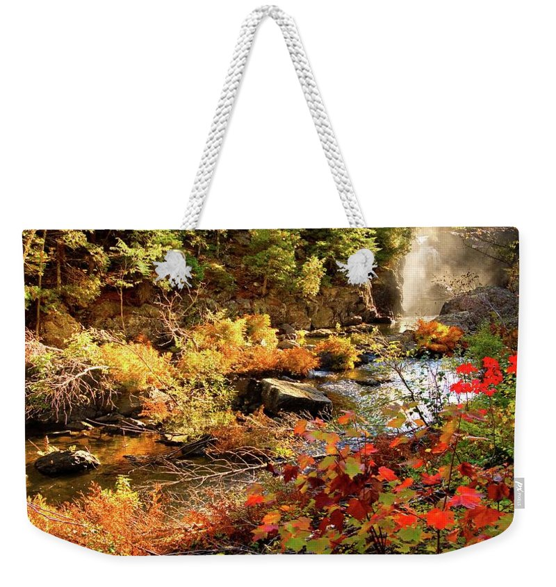 Dead River Falls Weekender Tote Bag featuring the photograph Dead River Falls Marquette Michigan by Michael Bessler