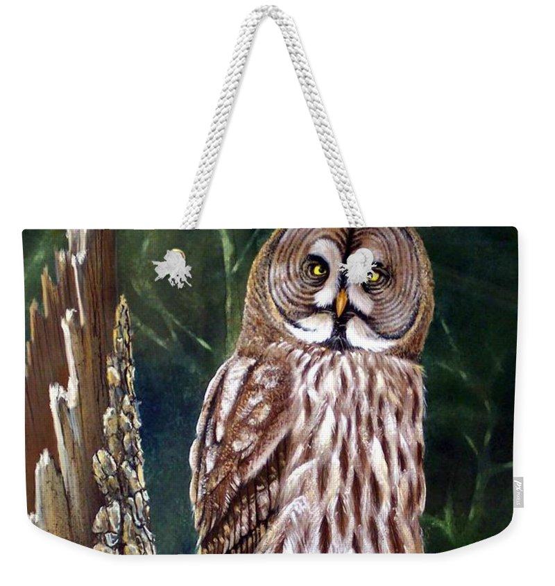Wildlife Weekender Tote Bag featuring the painting Deep In The Woods by Frank Wilson